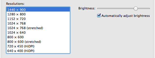 HiDPI display modes on a 15-inch MacBook Pro (native resolution: 1440x900)