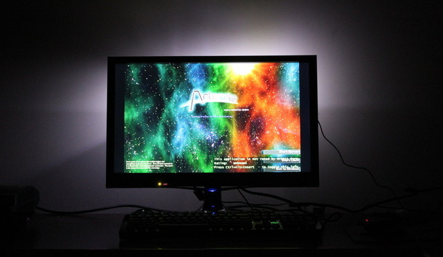 This is how the screen looks with a game playing. The ambient light increases relative contrast on the screen, making colors appear brighter and blacks deeper