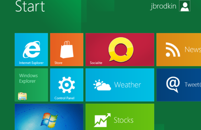 Windows 8 developer preview running in Fusion