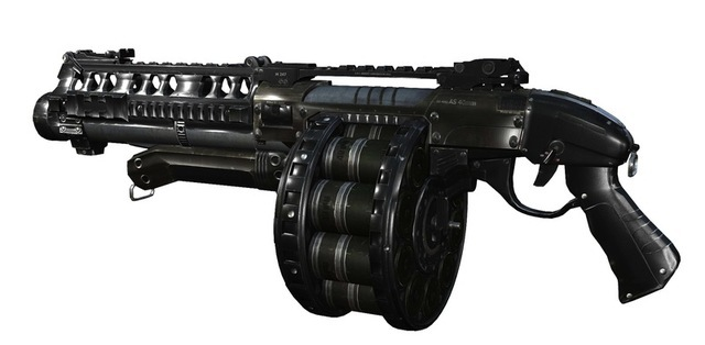 "Referred to informally as the ""Devastator"" on the battlefield, this automatic shotgun fires explosive shells with such force that the rounds pierce through smaller targets and shred enemies standing in line. Brings the boom all day."
