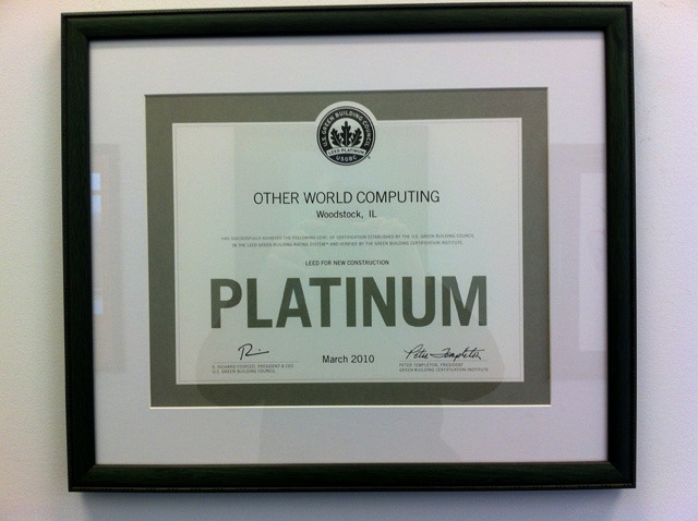 OWC's official LEED Platinum certificate.