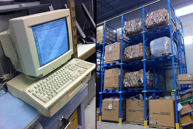 Left: OWC practices what it preaches, as this 'ancient' PowerMac 6100 runs component tests. Right: Recyclables collect in the warehouse until a full load is ready for pick up.