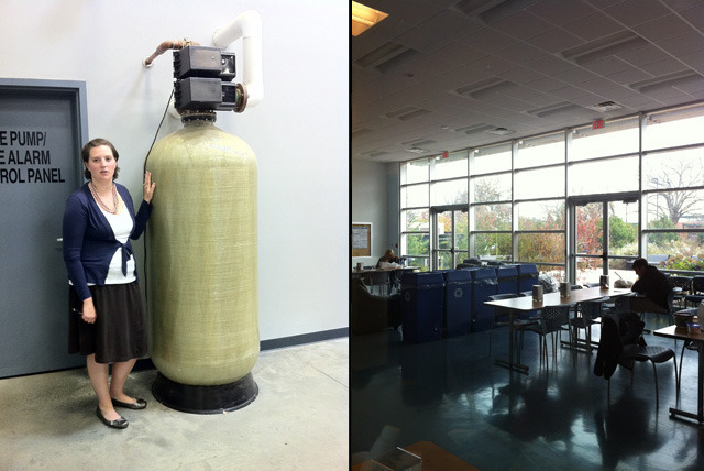 Left: Executive manager Kayleen Ivers stands next to the building's gigantic reverse-osmosis water filter. Right: The 'multipurpose room' gets so much natural light from its wall of glass that the interior lights only turn on when the sun goes down 'or there's a really bad storm.'