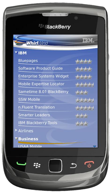 IBM WhirlWind on a BlackBerry