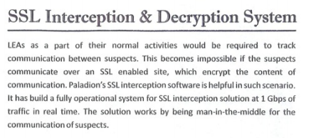 Paladion brochure: an overview of the company's SSL interception system