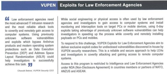 A VUPEN brochure describes the company's zero-day exploit subscription service