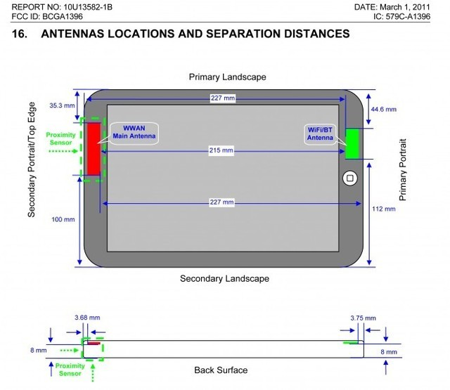 This diagram from an FCC filing indicates the location of the iPad's proximity sensor.