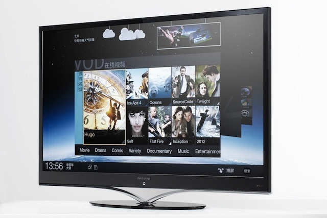 The Lenovo Smart TV K91, displaying its video-on-demand service