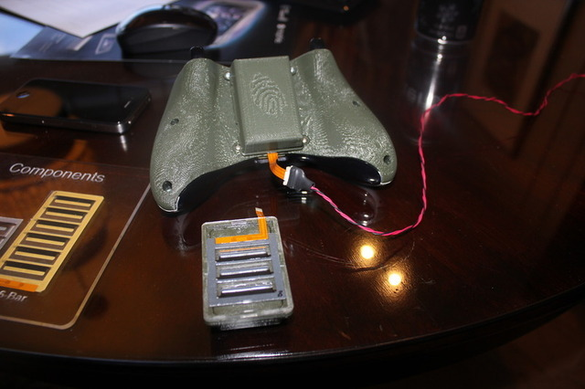 An Xbox controller rigged with the tech