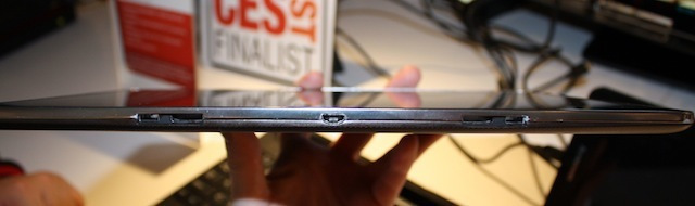 The underside of the S2110 with microUSB port