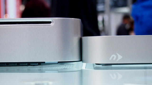 NewerTech's miniStack Max on the left, compared to the standard miniStack on the right. Both have been designed to pair with unibody Mac minis.