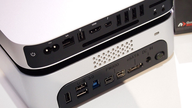 The miniStack Max has (from left to right) three USB 3.0 ports, two FireWire 800 ports, and an eSATA port for wide compatibility with Macs and PCs.