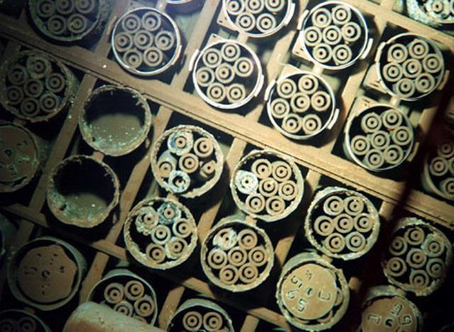 Spent nuclear fuel stored underwater at the DOE's Hanford site in Washington.