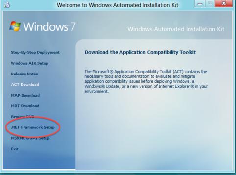 Installing Windows AIK—install the .NET framework first.