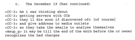 A captured portion of an IRC chat about using stolen credit cards to pay for new servers