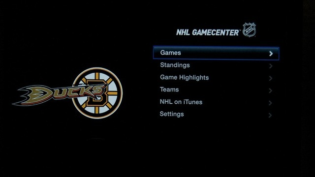 The NHL Gamecenter app's menu.