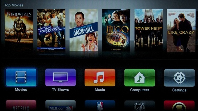 The new main menu for Apple TV dispenses with pull-down menus and goes for a more iOS-like look.