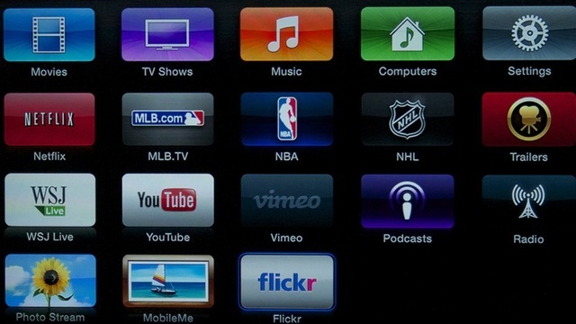 """The lower half of the Apple TV's new interface makes room for future """"apps."""""""