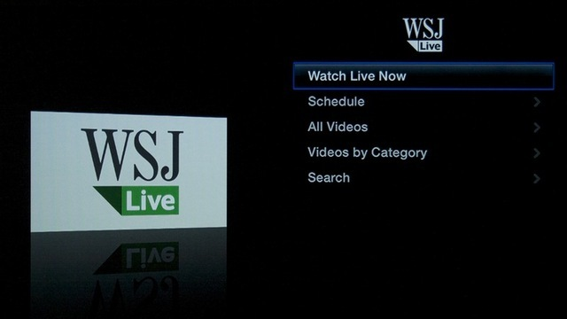 The Apple TV interface for the Wall Street Journal's live video content