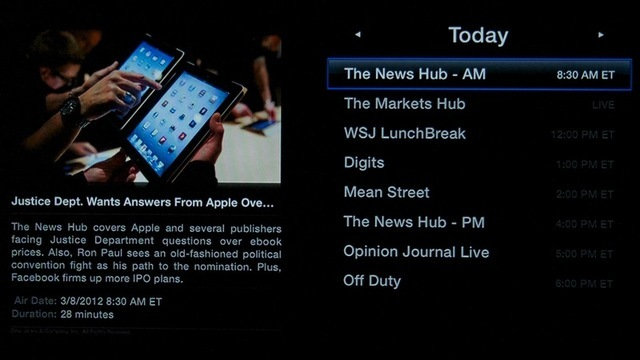 A schedule view of WSJ's content on Apple TV.