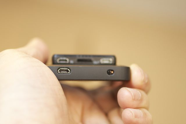 The base of the Third Rail Case, with micro-USB power port and charging toggle-switch.