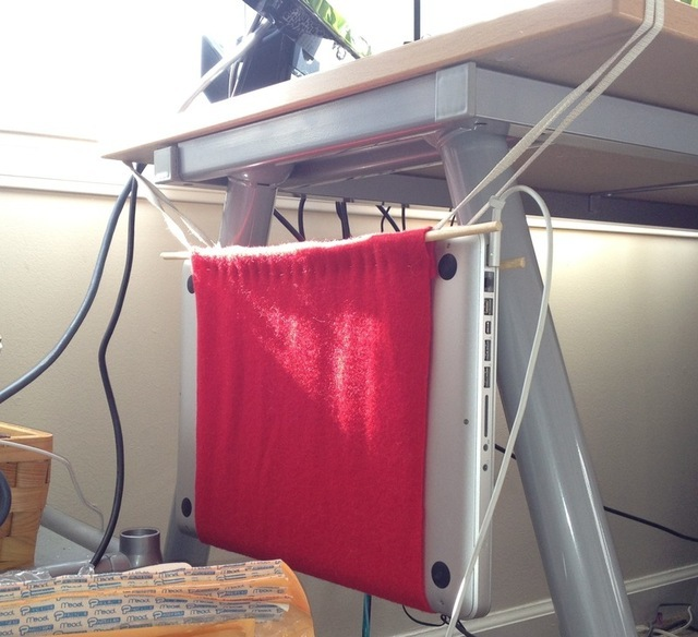 The original laptop hammock I made out of some spare felt.