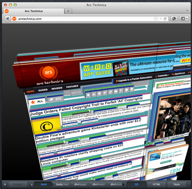 The 3D DOM visualization tool in Firefox 11
