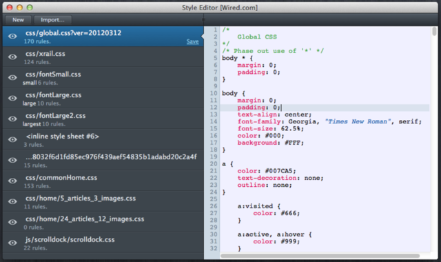The built-in style sheet editor in Firefox 11