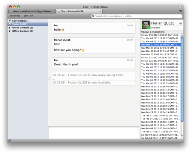 Instant messaging functionality in the latest Thunderbird nightly.