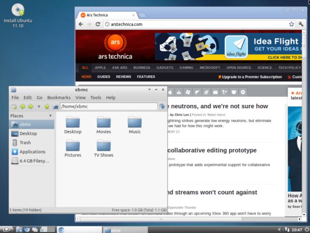 LXDE desktop environment running on XBMCbuntu