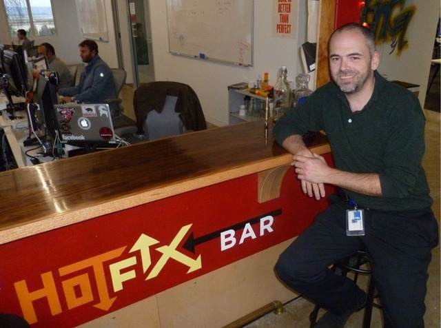 Chuck Rossi, the head of Facebook's release engineering team, sitting at the hotfix bar
