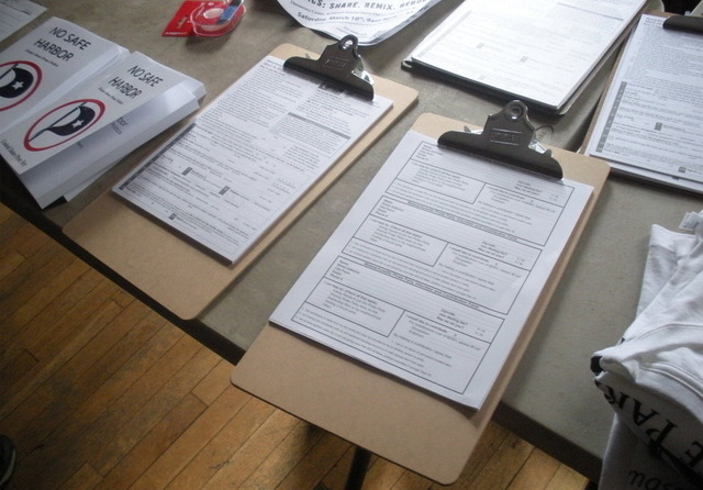 Voter registration forms and other materials handed out at the Pirate Party conference