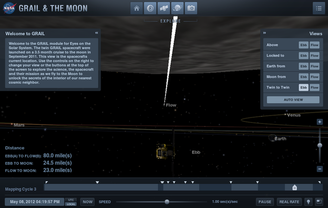 The two GRAIL spacecraft, Ebb and Flow, are orbiting the Moon fast enough that you can watch it rotate in real time.