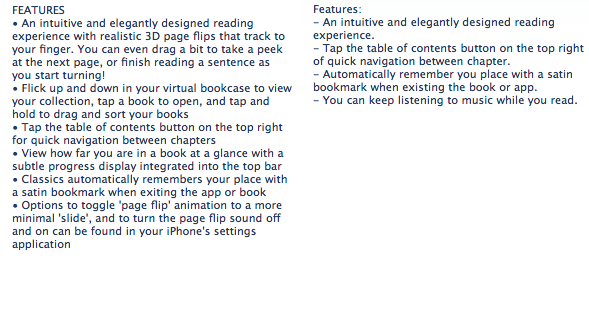 Classics description from the App Store on the left, Classics: Jane Austen description from the App Store on the right.