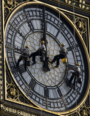 Cleaning the south face of the Westminster clock tower