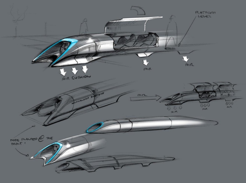 Musk's original Hyperloop sketch