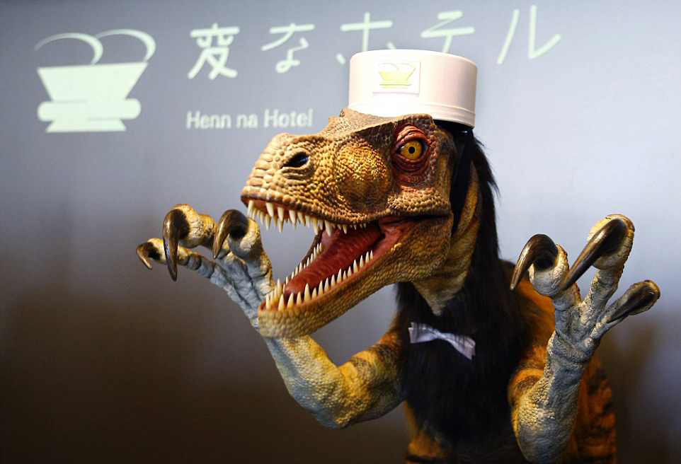 At the Hen-na Hotel in Japan, the hotel's English-speaking receptionist is, for some reason, a dinosaur.