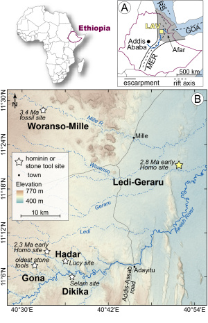 Detailed map of where the Ledi-Geraru site is located, in reference to other important fossil sites in Ethiopia.