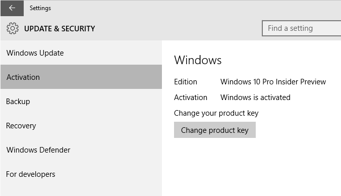 This is what it looks like if your copy of Windows 10 is activated.