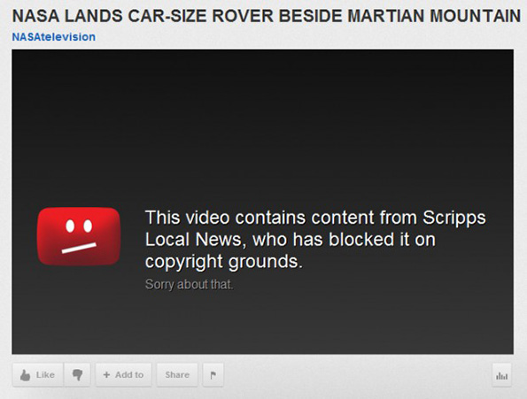 A NASA video of Curiosity was taken down YouTube's Content ID system gone awry.