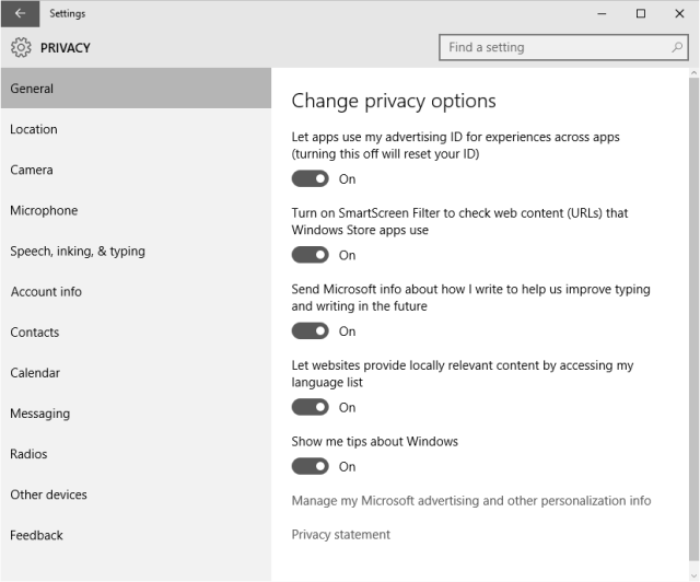 The Privacy applet in Windows 10. You can probably turn all these off, too.