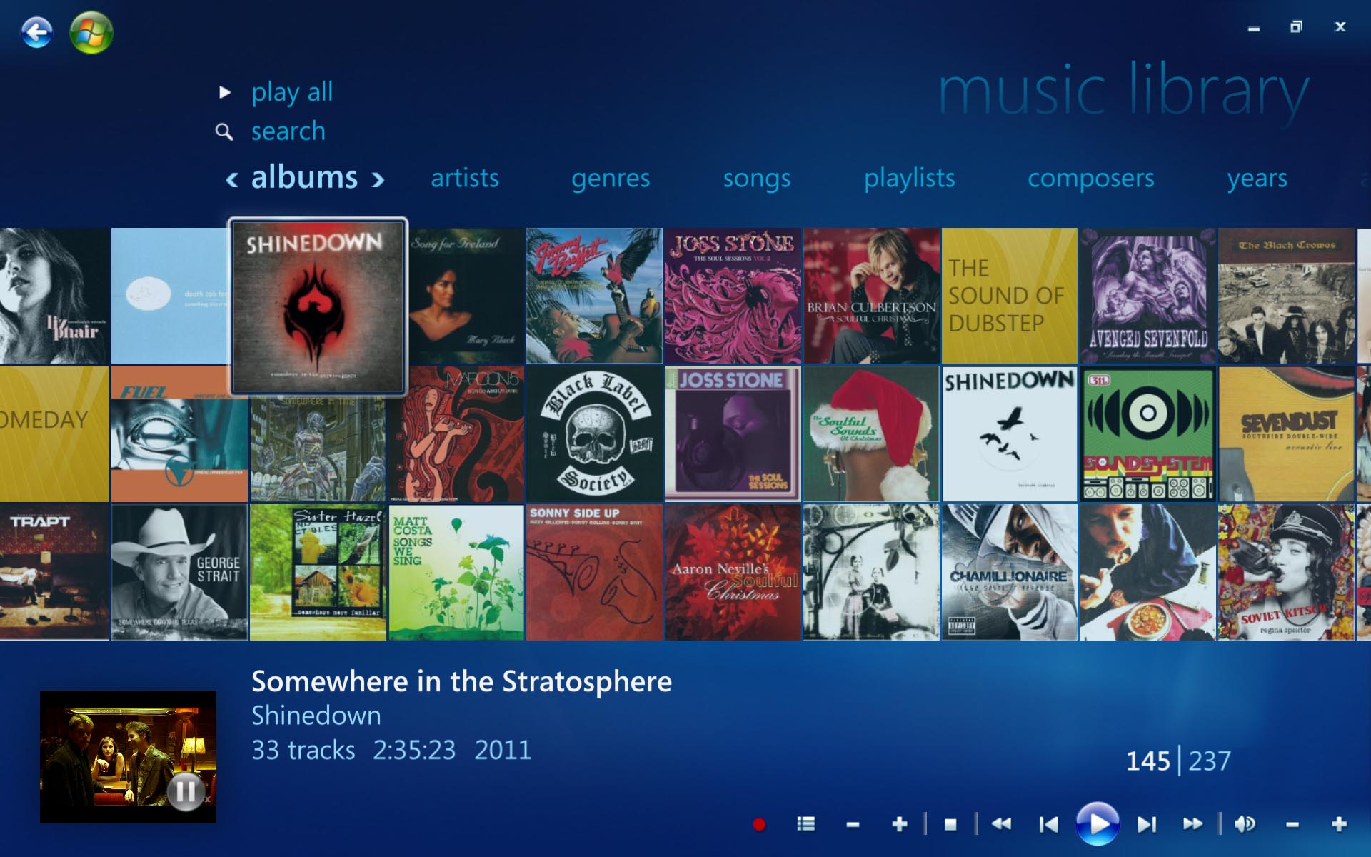 Windows Media Center. Compare feature set with Windows DVD Player pictured above.