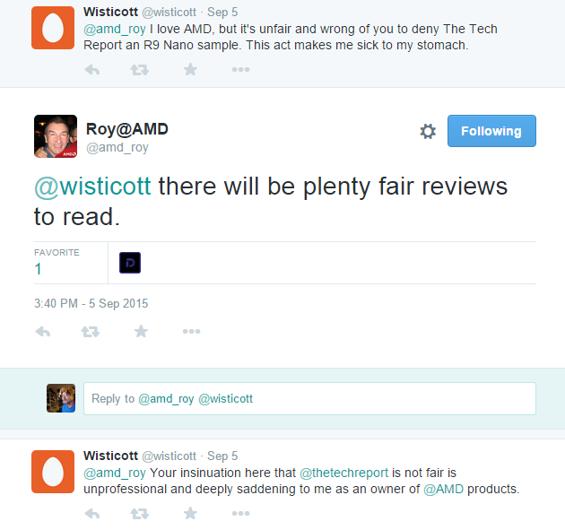 "One of the now deleted tweets AMD sent out regarding ""unfair"" reviews at tech publications."