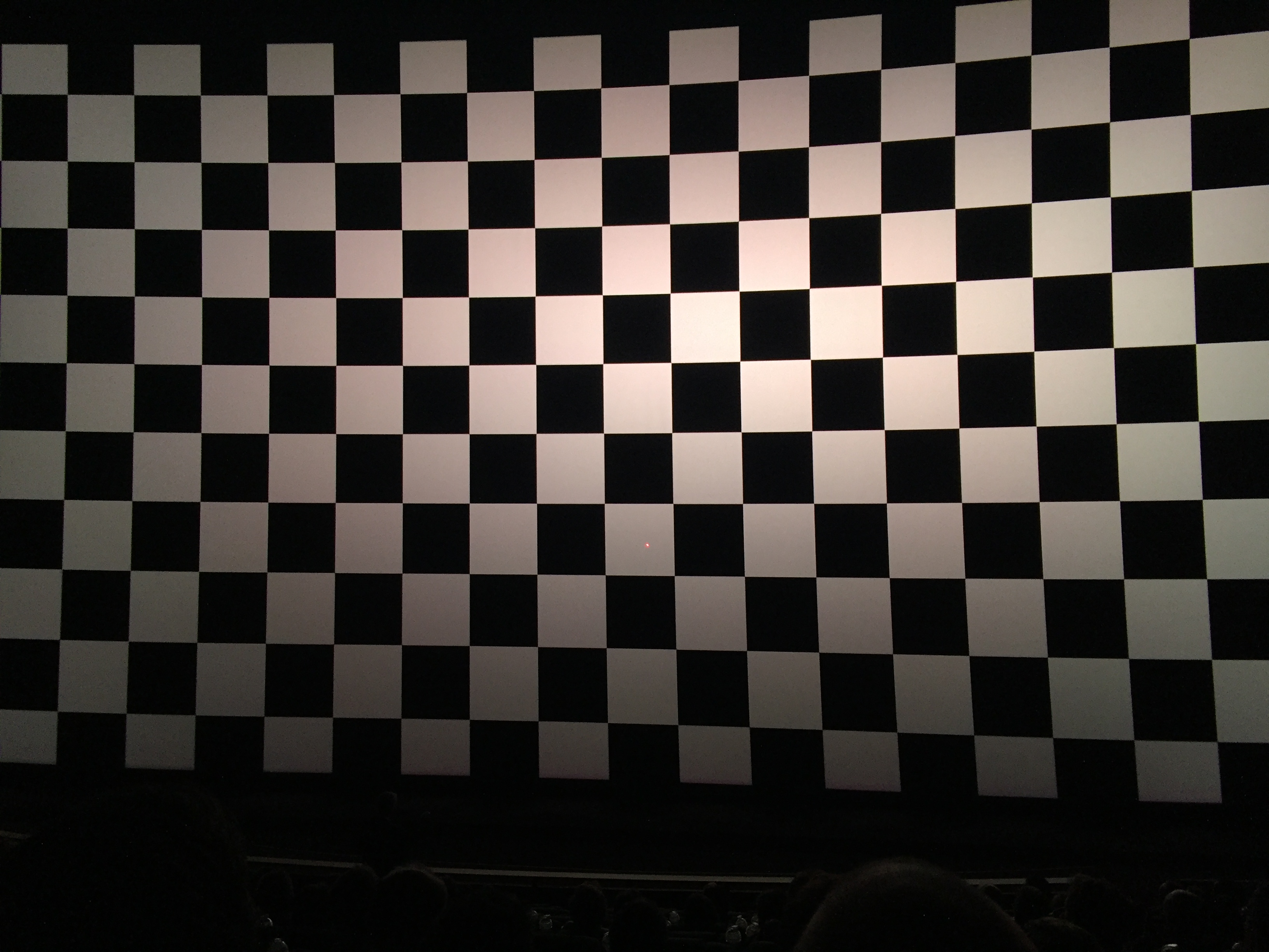 A chequerboard pattern showing the sharpness of the IMAX with laser system. Highlights and blacks are historically very difficult to accurately project using conventional DLP systems.