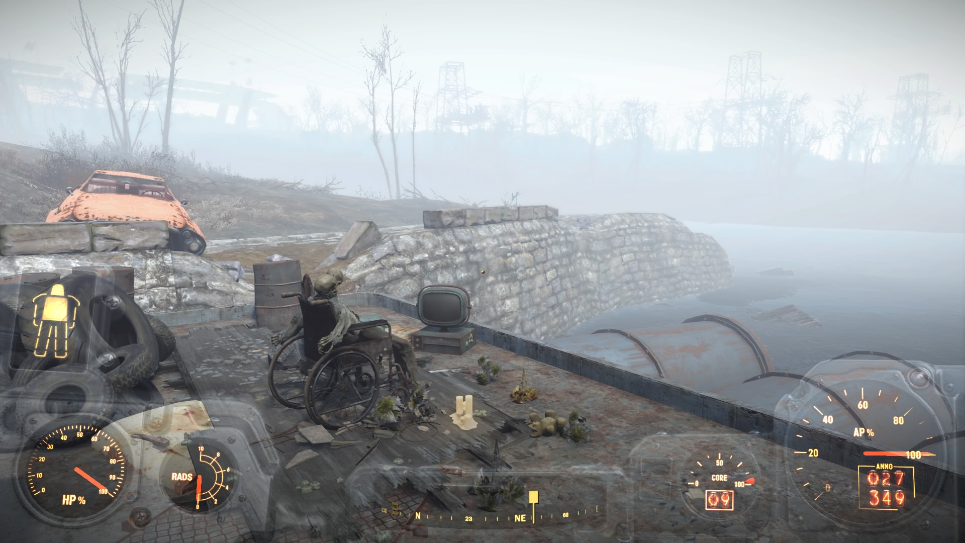 Amazingly, wearing Power Armour doesn't seem to affect your stealthiness.