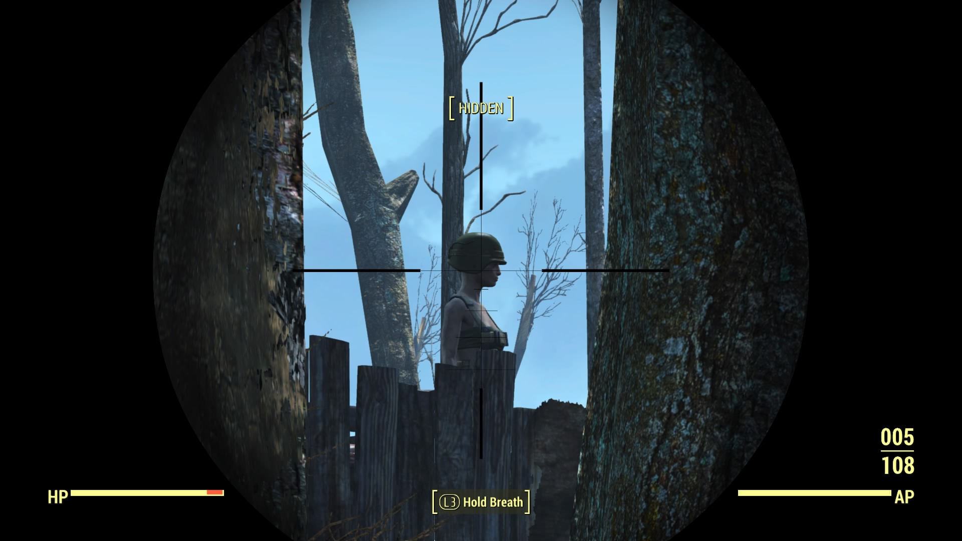 The stealth approach sometimes suffers from technical problems like this shot hitting an invisible wall.