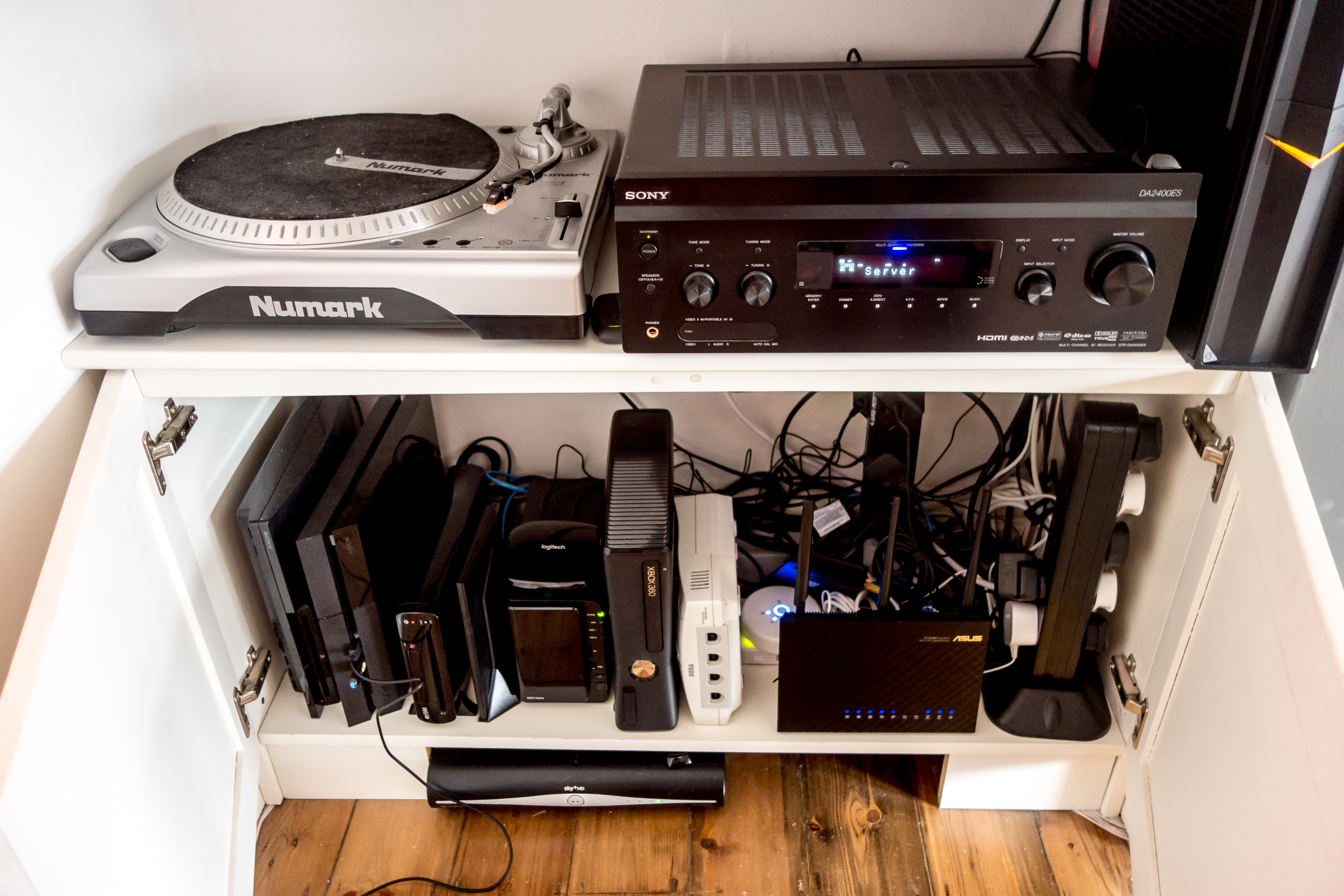 The Harmony works wonders for controlling this lot, but sadly does little for cable management.