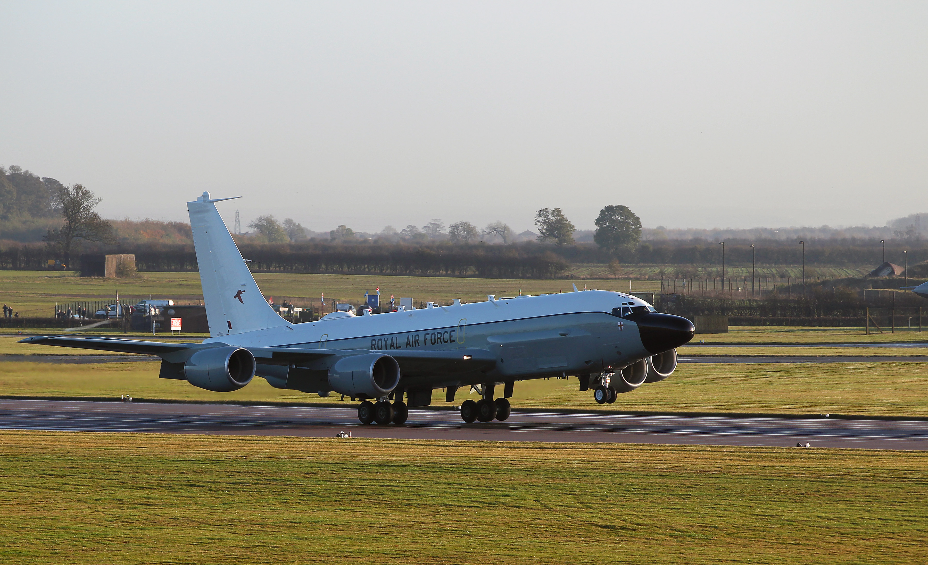 The UK's first Rivet Joint surveillance aircraft is pictured landing at RAF Waddington in November 2013.