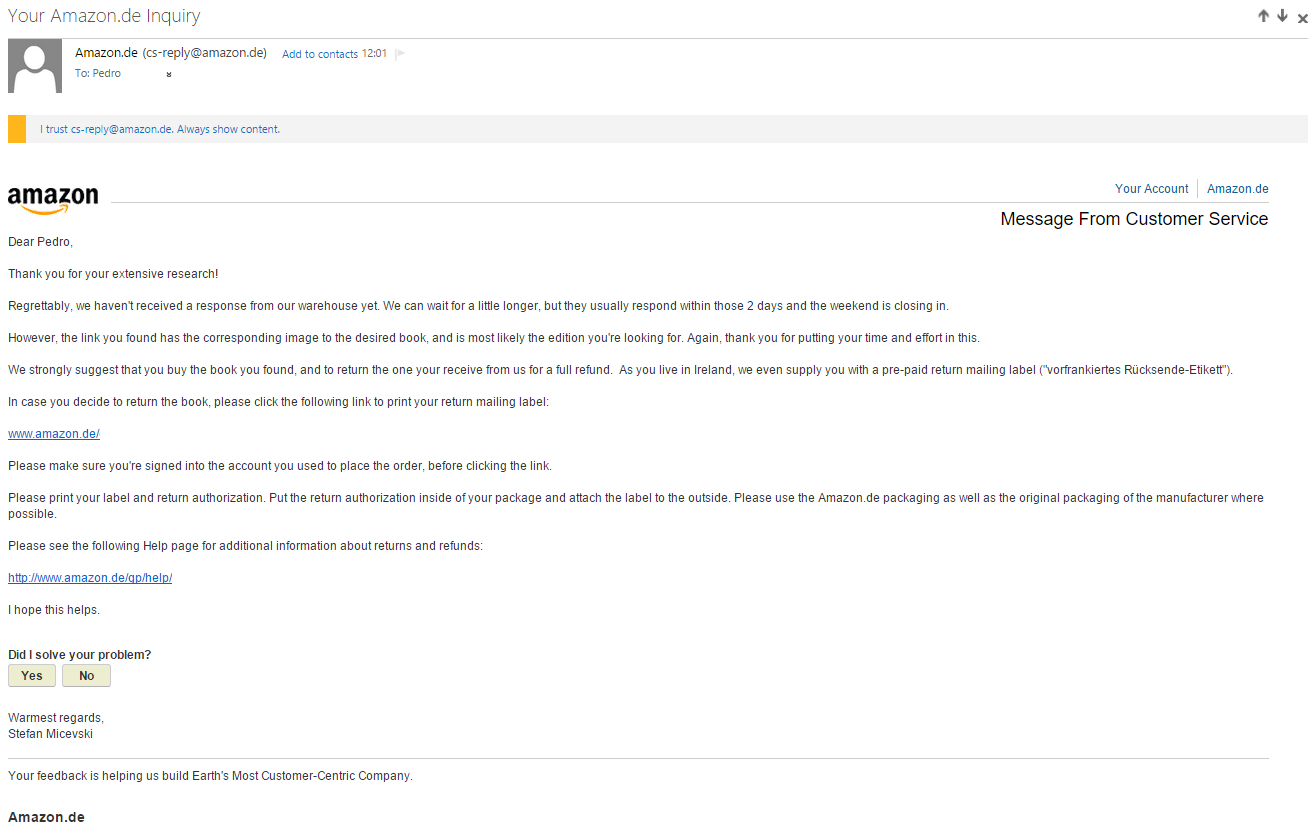 One of the many e-mails between Pedro and Amazon.de customer service.