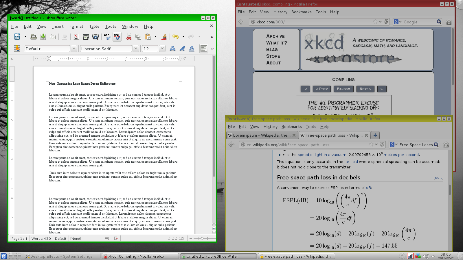 A screenshot of Qubes and KDE, with three documents in three different compartmentalised regions.